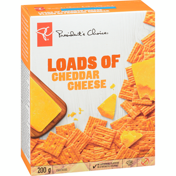 PRESIDENT'S CHOICE Loads Of Cheddar Cheese Crackers, 200g/7.1 oz., {Imported from Canada}