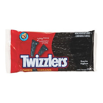 TWIZZLERS Black Licorice Candy, 375g/13.2 oz., per pack, {Imported from Canada}