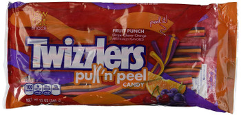 Twizzlers  Pull 'n' Peel Fruit Punch Licorice, 340g/12 oz., Bag, {Imported from Canada}