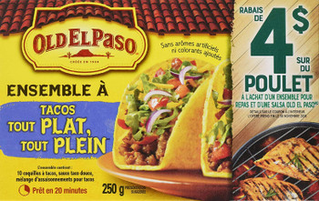 Old El Paso Stand & Stuff Tacos Dinner Kit, 10 Count, 250g/8.8 oz., {Imported from Canada}