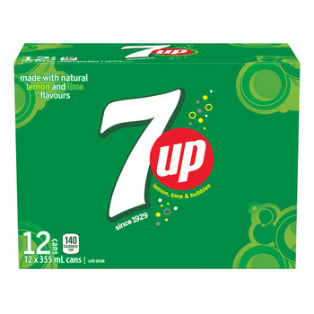 7UP Soft Drink, 355 mL/12 fl. oz., Cans, 12 Pack, {Imported from Canada}
