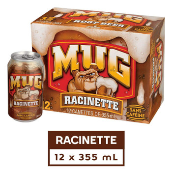 MUG Root Beer, 355mL/12 fl. oz., Cans, 12 Pack, {Imported from Canada}