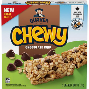 Quaker Chewy Chocolate Chip Granola Bars, 120g/4.2 oz, Box {Imported from Canada}
