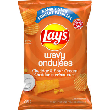 Lay's Wavy Cheddar & Sour Cream Potato Chips, 220g/7.8 oz., {Imported from Canada}