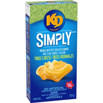Kraft Dinner Simply Macaroni & Cheese, Three Cheese made with Cauliflower, 150g/5.3 oz., {Imported from Canada}