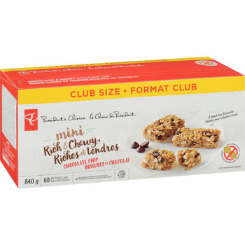 President's Choice Mini Rich & Chewy Granola Bars, Chocolate Chip, 840g/29.6 oz., (60 Bars), {Imported from Canada}