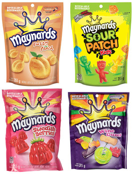 Maynards Fuzzy Peach, Wine Gums, Swedish Berries, Sour Patch Kids Candy, 355g/12.5 oz. (4pk) {Imported from Canada}