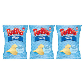 Ruffles Regular Lightly Salted Potato Chips 200g/7.05oz, 3-Pack {Imported from Canada}