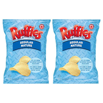 Ruffles Regular Lightly Salted Potato Chips 200g/7.05oz, 2-Pack {Imported from Canada}