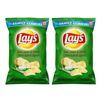 Lay's Potato Chips - Sour Cream & Onion, 235g/8.3 oz., 2-Pack {Imported from Canada}