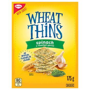 Christie Wheat Thins Spinach & Roasted Garlic Crackers, 175g/6.2 oz., (Imported from Canada}