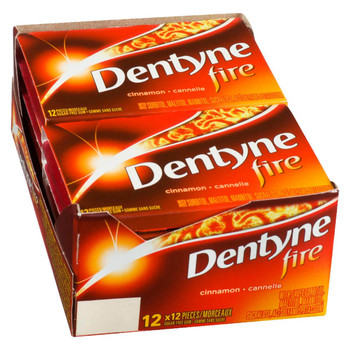 Dentyne Fire Bubble Gum, Cinnamon, 12x12/144ct, {Imported from Canada}