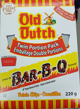Old Dutch BBQ Barbeque Potato Chips, 220g/7.8 oz., Box (12pk) {Imported from Canada}