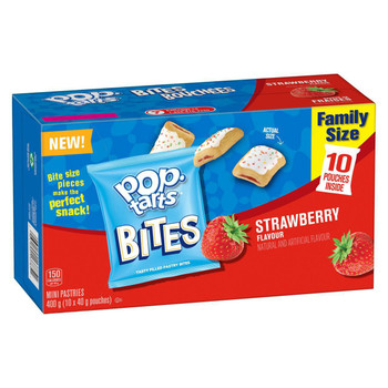 Kellogg's Pop-Tarts Bites, Mini Pastries Strawberry Flavour, 10 pouches, 400g/14.1 oz., {Imported from Canada}