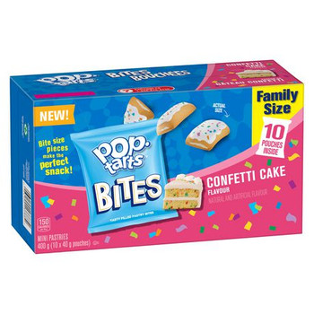 Kellogg's Pop-Tarts Bites, Mini Pastries Confetti Cake Flavour, 10 pouches, 400g/14.1 oz., {Imported from Canada}