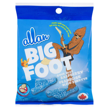 Allan Big Foot, Sour Blue Raspberry Gummy Candy, 120g/4.2oz., Peg Bags, (3 Pack) {Imported from Canada}