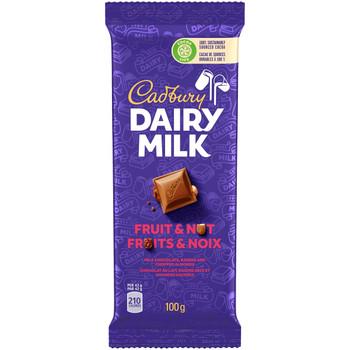 Cadbury Dairy Milk Chocolate Bar, Fruit & Nut Flavour, 100g/3.5oz per Bar, (3 Pack) {Imported from Canada}