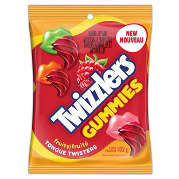 TWIZZLERS TONGUE TWISTER, Fruity Gummies, 182g/6.4 oz. Peg Bag, {Imported from Canada}