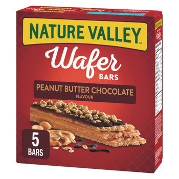 NATURE VALLEY Crispy Creamy Wafer Bars, Peanut Butter Chocolate, 5 Count per box, 184g/6.5 oz., {Imported from Canada}