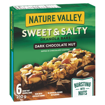 NATURE VALLEY, Sweet & Salty Dark Chocolate Nut Granola Bars, 6 Count, 210g/7.4 oz., Box, {Imported from Canada}