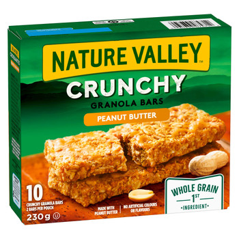 NATURE VALLEY Crunchy Peanut Butter Granola Bars, 10-Count, 230g/8.1 oz., {Imported from Canada}