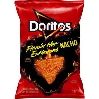 Doritos Flamin' Hot Nacho Tortilla Chips, 210g/7.4 oz., Bag, {Imported from Canada}