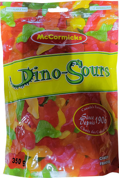 McCormicks Dino-Sours Gummy Candy, 350g/12.3 oz., Bag, {Imported from Canada}