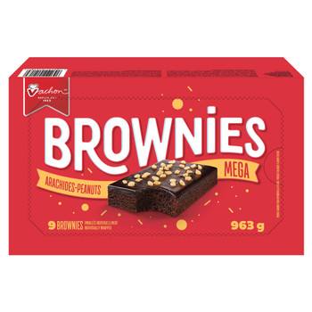 Vachon Mega Brownies with Peanuts and Decadent Chocolatey Frosting, Snack Food, Contains 9 brownies (Individually Wrapped) 963g/34 oz., {Imported from Canada}