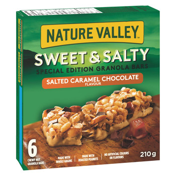 Nature Valley Sweet & Salty Salted Caramel Chocolate Flavoured Granola Bars, Special Edition, 6 Count, 210g/7.4 oz., {Imported from Canada}