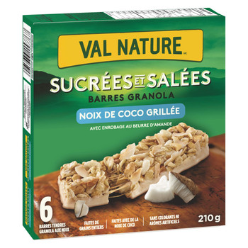 NATURE VALLEY Sweet & Salty Toasted Coconut Granola Bars, 6 Bars, 210g/7.4 oz., Box, {Imported from Canada}