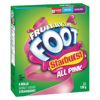 Betty Crocker, Gluten Free, Fruit by The Foot, Starburst All Pink, 6 Count, 128g/4.5oz,(Box) (Imported from Canada)
