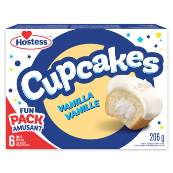 Hostess Vanilla Cupcakes with Frosting and Creamy Filling, Snack Cakes, Contains 6 Cupcakes (Twin Wrapped), 206g/7.3 oz, Box, {Imported from Canada}
