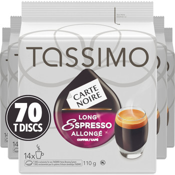 Tassimo Carte Noire Long Espresso, 70 T-Discs (5 Boxes of 14 T-Discs) {Imported from Canada}