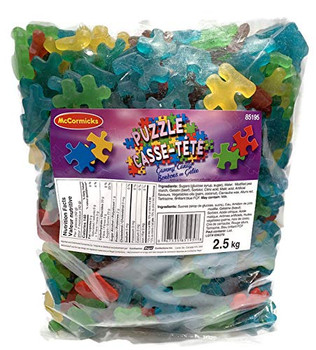 McCormicks Puzzle Piece Gummy Candies  - 2.5kg/5.5 lb. Bag - Perfect for Puzzle Lovers! {Imported from Canada}