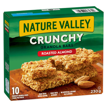 NATURE VALLEY Crunchy Roasted Almond Granola Bars, 10-Count, Box, 230g/8.1 oz., {Imported from Canada}