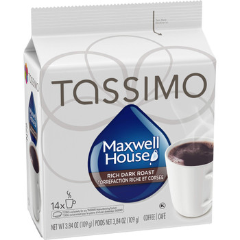 Tassimo Maxwell House Dark Roast Coffee Single Serve, 14 T-Discs,  {Imported from Canada}
