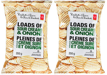 Presidents Choice Loads Of Creamy Ripple Sour Cream & Onion Chips 200g/7.05oz {Imported from Canada}
