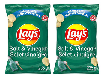Lay's Potato Chips, Salt and Vinegar, 235g/8.3 oz., Pack of 2 {Imported from Canada}