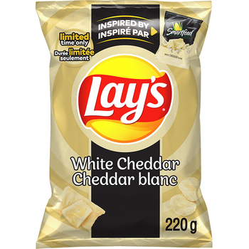 Lay's White Cheddar Potato Chips, Limited Time, 220g/7.8 oz., Bag, {Imported from Canada}