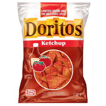 Doritos Ketchup Tortilla Chips, Limited Time, 230g/8oz, (Imported from Canada)