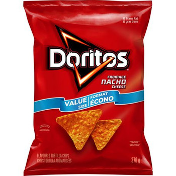 Doritos Nacho Cheese Tortilla Chips, 370g/13.1 oz., Value Size Bag, {Imported from Canada}