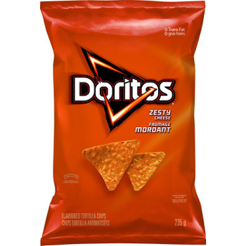 Doritos Zesty Cheese Tortilla Chips, 235g/8.3 oz., Bag, {Imported from Canada}
