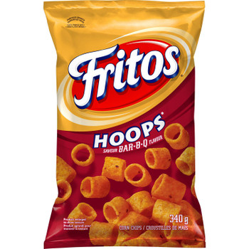 Fritos Hoops BAR-B-Q Corn Chips, 340g/12 oz., Bag, {Imported from Canada}