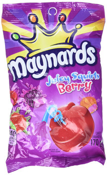 Maynards Juicy Squirts Berry, Gummy Candy, 170g/6oz., (6 Pack), {Imported from Canada}