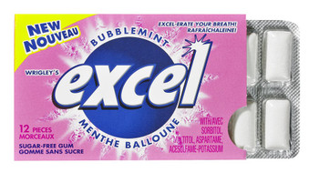 Excel Sugar-Free Gum, Bubblemint, 12-Count, (Imported from Canada)