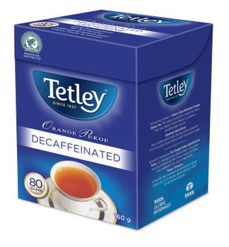 Tetley Orange Pekoe Decaffeinated Tea, 80 Tea Bags, 160g/5.6oz., (6 Pack) {Imported from Canada}
