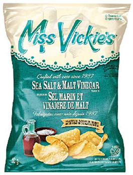 Miss Vickie's Sea Salt and Malt Vinegar Chips Box, (40 Bags of 40g/1.4 oz., Each) {Imported from Canada}
