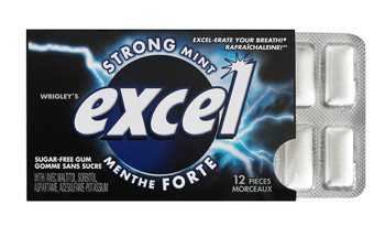 Excel Sugar-Free Gum, Strong Mint, 12 Count {Imported from Canada}