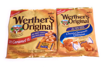 Werther's Variety Sugar Free Caramels, 1 Caramel Hard Candies 70g & 1 Chewy Caramels 60g