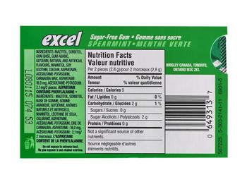 Excel Sugar-free Pellet Gum, 12ct - 12pk , Spearmint {Imported from Canada}